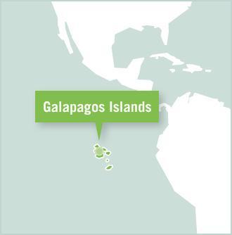 Map of the volunteer destination in the Galapagos Island of Ecuador, South America