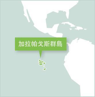 地圖顯示義工在南美厄瓜多爾的工作地點是加拉帕戈斯群島