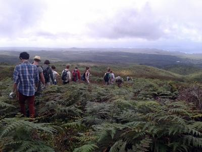 Volunteers in Ecuador go for a hike.