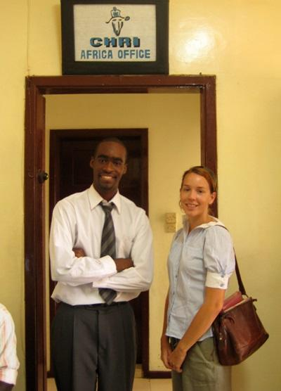 Interns on the Human Rights project in Ghana, West Africa pose in the office