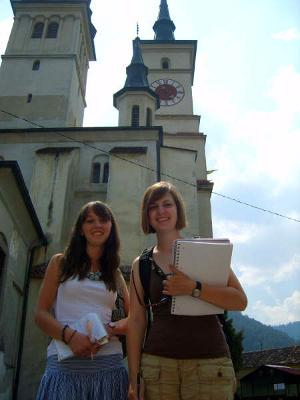 Female volunteers on the Journalism project in Romania, Europe