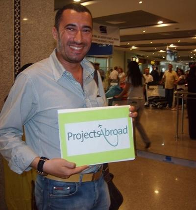 Projects Abroad local staff member in Morocco picks up a volunteer at the airport