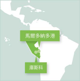 秘魯的地圖顯示義工工作的地點是烏魯班巴、聖谷地區、庫斯科和塔利卡亞生態保護園區