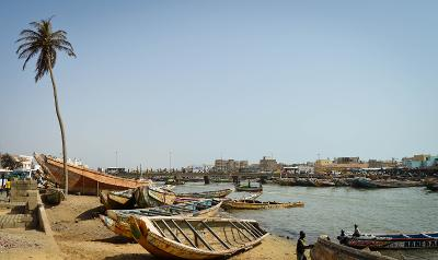 Fishing boats in St Louis, Senegal where Projects Abroad is based.
