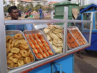 Local Sri Lankan food for sale at a market in Colombo