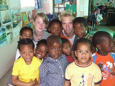 Volunteers with Children at Care placement in South Africa