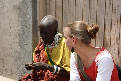 Volunteer with local woman on the Culture & Community project in Africa