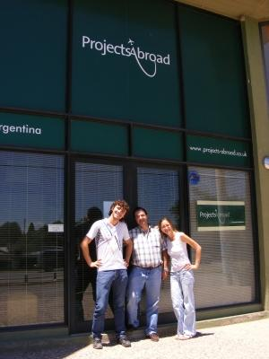 Volunteers and staff stand in front of the Projects Abroad offices in Argentina