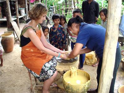 On her volunteer travel program, this participant learns traditional pottery making on the Khmer Culture Project in Cambodia