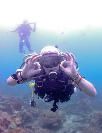 Volunteer dives to observe life underwater on a conservation project overseas