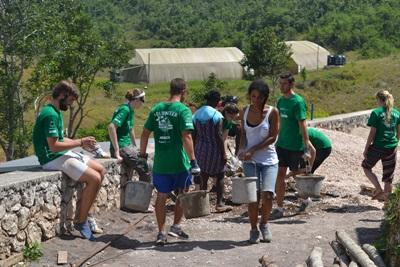 Projects Abroad volunteers help to build bathroom facilities at the Old England Primary school in Jamaica
