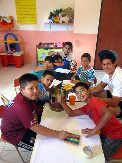 Argentinean children do arts and crafts at a Projects Abroad Care Project in Cordoba.