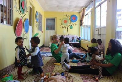 A Care volunteer at work in a care centre in Ethiopia.