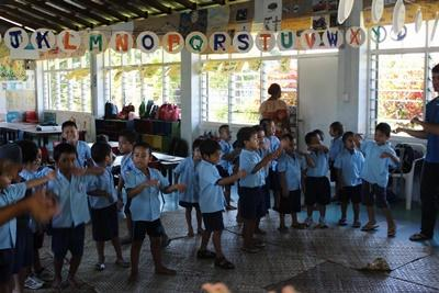 A group of young children at a Projects Abroad Care placement, All Saints Anglican Preschool, in Apia, Samoa.