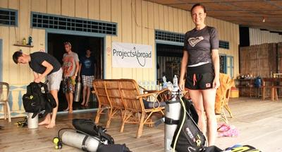 A Projects Abroad Conservation volunteer gets ready for a diving activity in Cambodia, Asia.