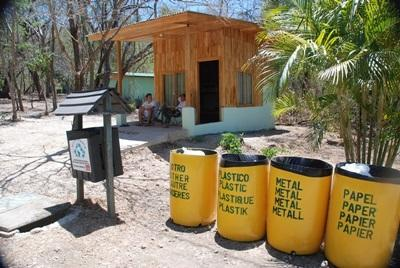Recycling bins on the Conservation project location in Costa Rica
