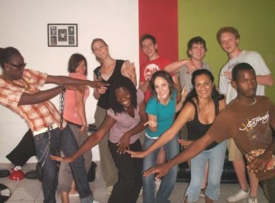 Volunteers do a reggae dance class on the Performing Arts project in Jamaica