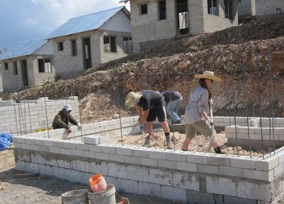 Projects Abroad building volunteers work at a site in the Philippines, Asia.
