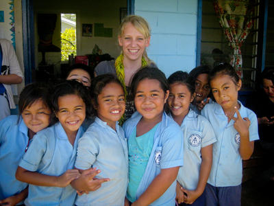 On the Care & Community Village Project in Samoa volunteers teach at a primary school