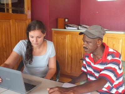 International Development intern assists a Richmond local with a community Disaster Preparedness Plan as part of the Disaster Management program