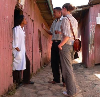 Interns interview locals for a piece on the Journalism project in Ethiopia
