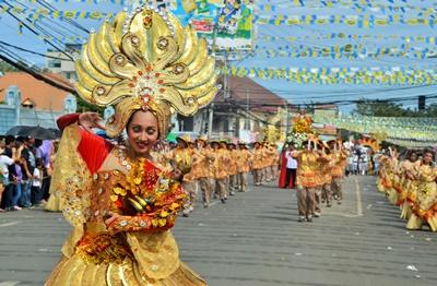 Local people celebrate a festival in the Philippines, Asia.