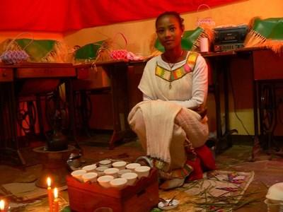 Ethiopian girl dressed in traditional clothing