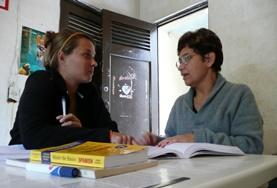 A volunteer takes Spanish lessons in Belize.