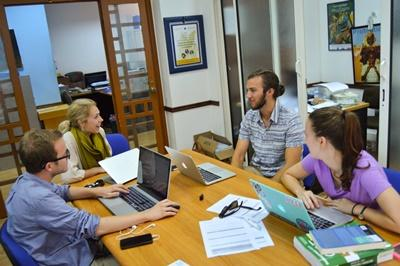 Projects Abroad Human Rights interns in Morocco meet at the office to discuss the day's work.