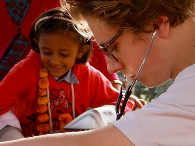 A Projects Abroad Medicine intern participates in a medical outreach in Nepal, Asia.