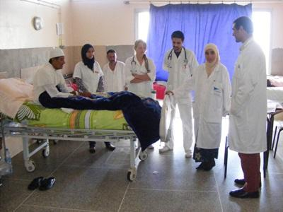 Nursing interns observe doctors in a hospital in Morocco