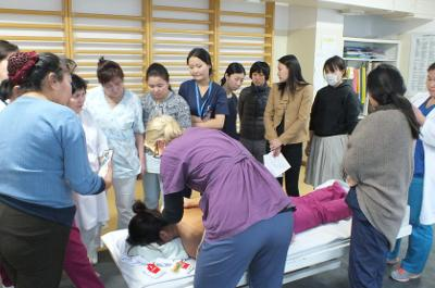 Qualified physiotherapist runs a workshop for local therapists at her volunteer placement in Mongolia.