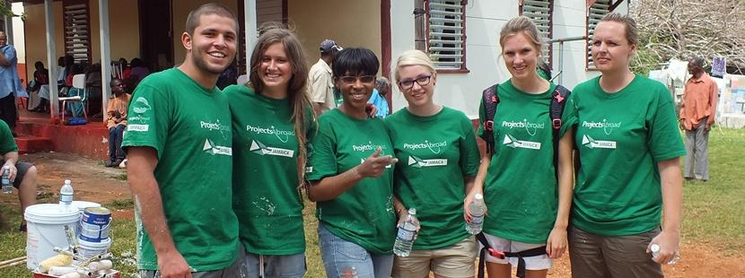 Volunteers pose during a break on their Building Project in Jamaica, one of our Easter Week Special options