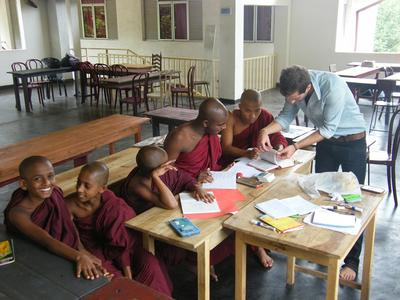 Young Sri Lankan monks enjoy an English lesson with a Teaching volunteer.