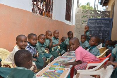 A group of Tanzanian children at their elementary school.