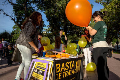 Volunteers in Bolivia work on a public awareness campaign to foster human rights