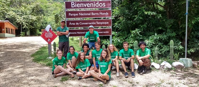 Middle School volunteers pose while on their Conservation Project in Costa Rica