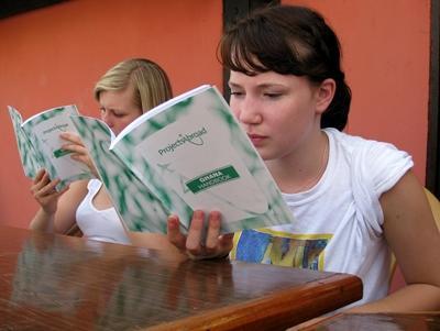 Volunteers reading